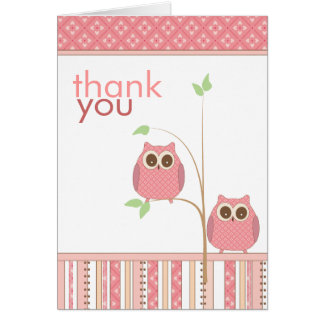 Twin Girls Baby Owl Thank You Card