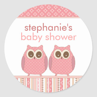 Twin Girls Baby Owls Personalized Shower Stickers