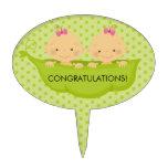 Twin Girls Baby Shower Cake Topper
