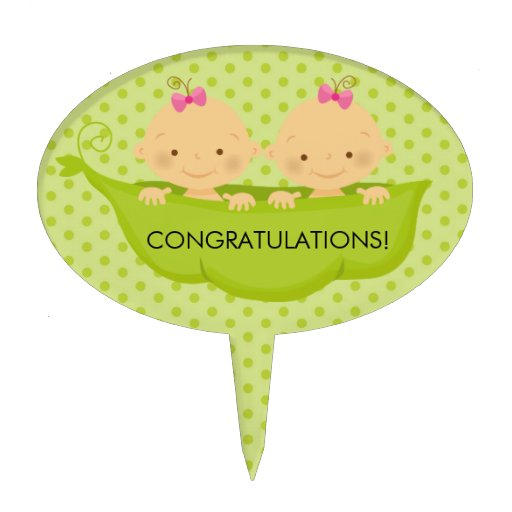 Twin Baby Shower Cake Toppers: Twin Girls Baby Shower Cake Topper