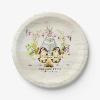 Twin Girls Baby Shower Hedgehog Birch Bark BOHO Paper Plate