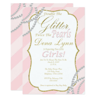 Twin Girls Baby Shower Invitation at Zazzle
