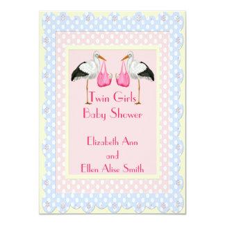 Twin Girls Baby Shower 4.5x6.25 Paper Invitation Card
