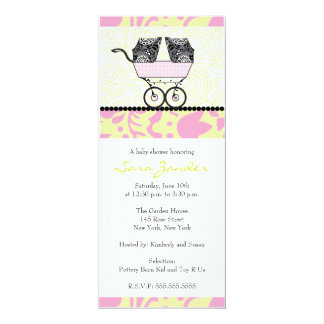 Twin Girls Baby Shower Invitation - Baby Carriage