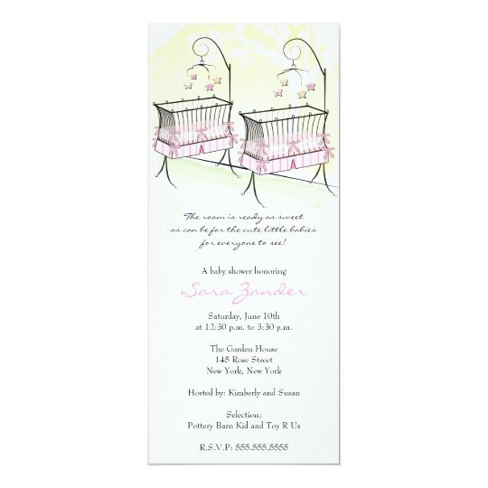 Twin Girls Baby Shower Invitation - Baby Cribs