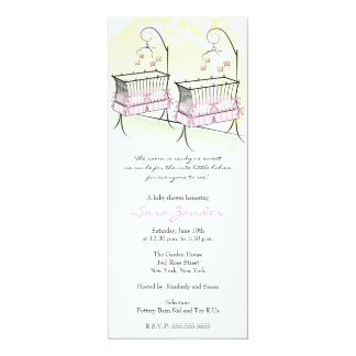 Twin Girls Baby Shower Invitation - Baby Cribs
