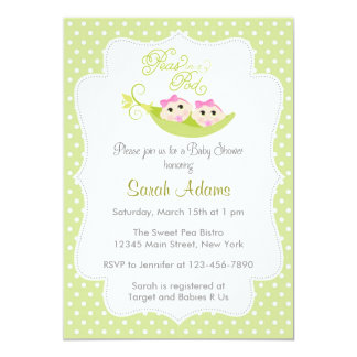 Twin Girls Baby Shower Invitation Peas in A Pod