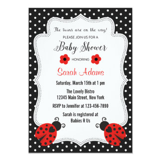 Twin Girls Baby Shower Invitation Pink