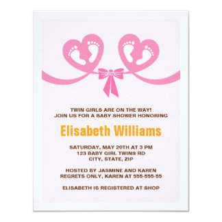Twin girls baby shower invitation with footprints