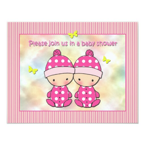 twin girls baby shower invitations zazzle