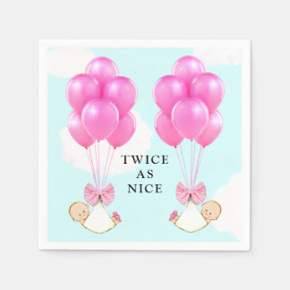 Twin Girls Baby Shower Paper Napkin