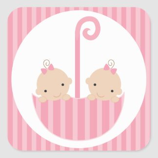 Twin Girls Baby Shower Square Sticker