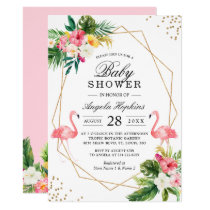 Twin Girls Baby Shower Tropical Floral Flamingos Invitation