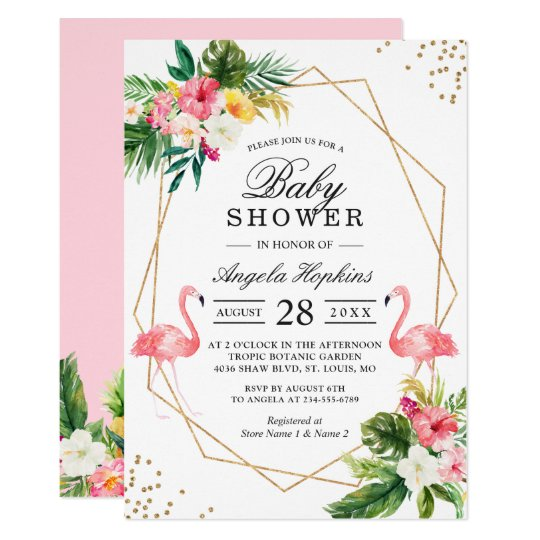 Twin Girls Baby Shower Tropical Floral Flamingos Invitation Zazzle
