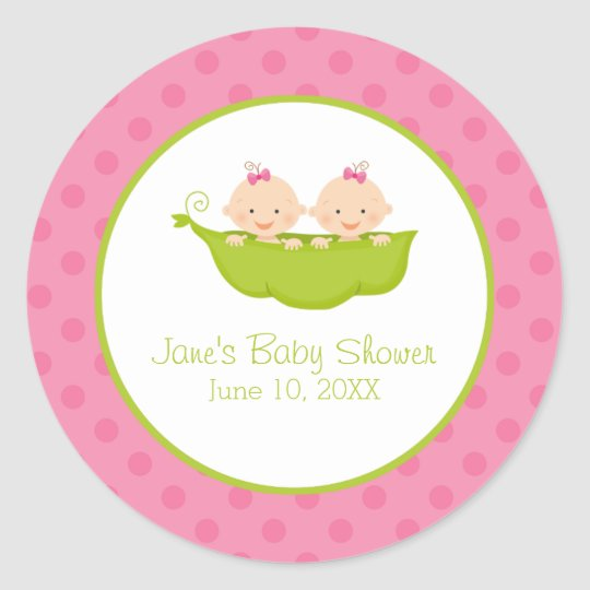 Beautiful Twin Girls Baby Shower, Two Peas In A Pod Classic Round Sticker