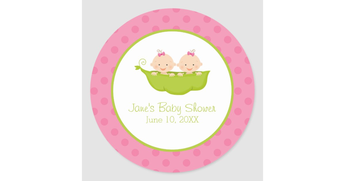 Twin Girls Baby Shower Two Peas In A Pod Classic Round