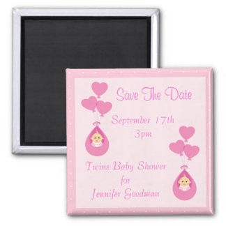 Twin Girls & Balloons Save The Date Baby Shower Fridge Magnet
