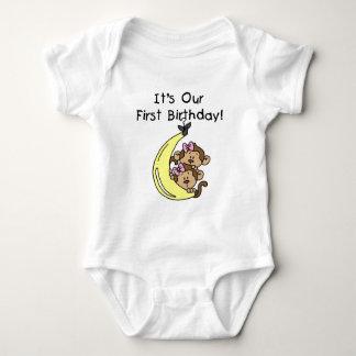 Twin Girls Banana Monkey 1st Birthday Baby Bodysuit