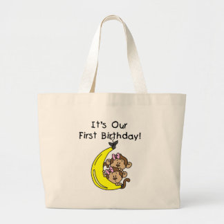 Twin Girls Banana Monkey 1st Birthday Bags