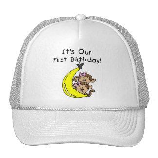 Twin Girls Banana Monkey 1st Birthday Hats