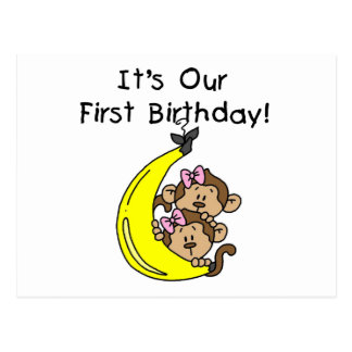 Twin Girls Banana Monkey 1st Birthday Postcard
