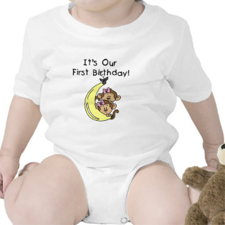 Twin Girls Banana Monkey 1st Birthday Rompers