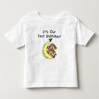 Twin Girls Banana Monkey 1st Birthday Tee Shirts