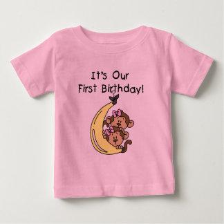 Twin Girls Banana Monkey 1st Birthday Tshirts