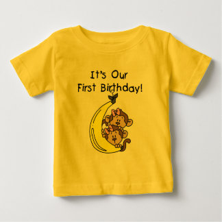 Twin Girls Banana Monkey 1st Birthday T Shirt