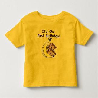 Twin Girls Banana Monkey 1st Birthday Tee Shirt