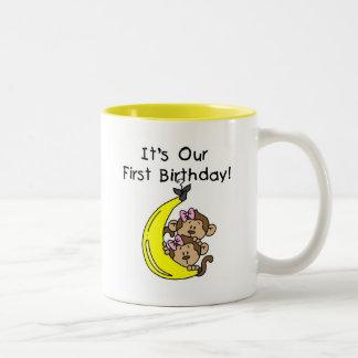 Twin Girls Banana Monkey 1st Birthday Two-Tone Coffee Mug
