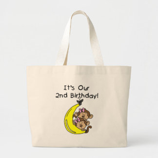 Twin Girls Banana Monkeys 2nd Birthday Tote Bag