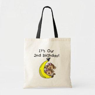 Twin Girls Banana Monkeys 2nd Birthday Bag