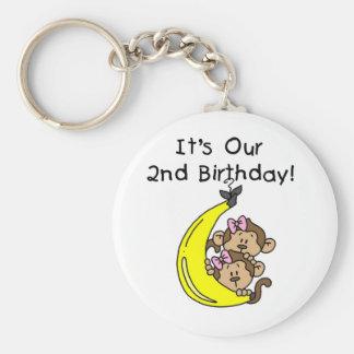 Twin Girls Banana Monkeys 2nd Birthday Keychain