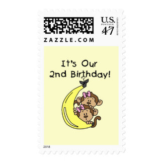 Twin Girls Banana Monkeys 2nd Birthday Postage