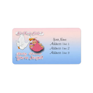 Twin Girls BH -Stork Baby Shower Address Labels
