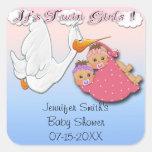 Twin Girls BH - Stork Baby Shower Favor stickers