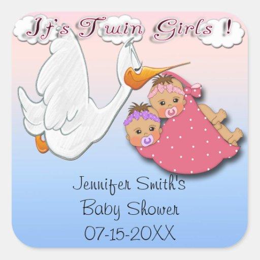 twin girls bh stork baby shower favor stickers zazzle