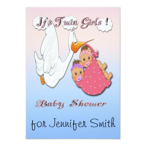 Twin girls bh stork baby shower invitations zazzle for Baby shower stork decoration