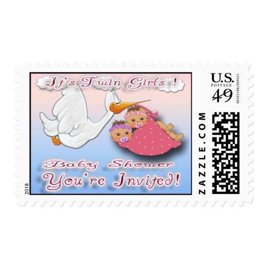 Twin Girls BH - Stork Baby Shower Postage