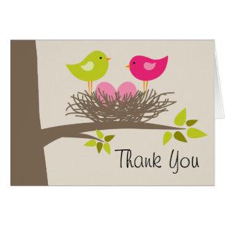 Twin Girls Bird's Nest Thank You Card