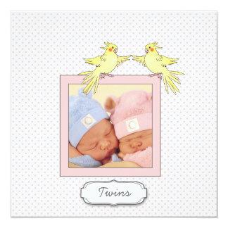 Twin Girls Birds - Pink Photo Birth Announcement