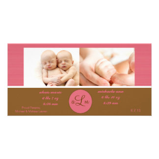 Twin Girls Birth Announcement Picture Card