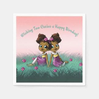 """Twin Girls Birthday Paper Napkins"" Napkin"