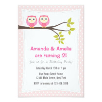 Twin Girls  Birthday Party Invitation Owls