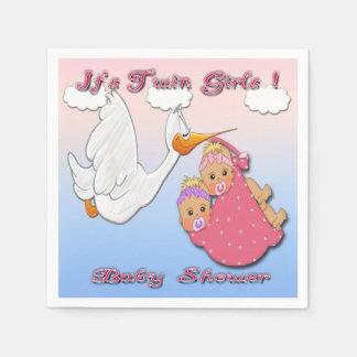Twin Girls Blonde - Stork Baby Shower Paper Napkin