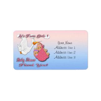 Twin Girls Blonde Stork Baby Shower Thank you labe Custom Address Labels