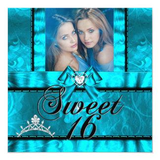 Twin Girls Blue Teal Sweet Sixteen Sweet 16 5.25x5.25 Square Paper Invitation Card