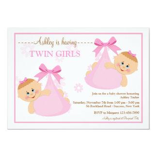 twin girls bundles baby shower invitation