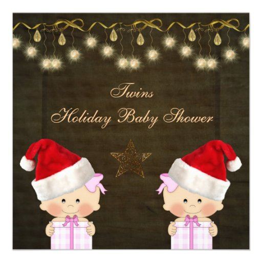 twin girls christmas baby shower square paper invitation